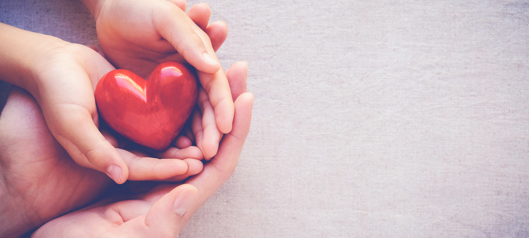 parent and child's hand holding an heart shaped object