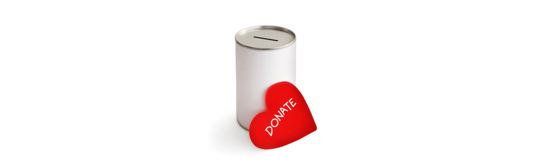 red heart and donation can on white